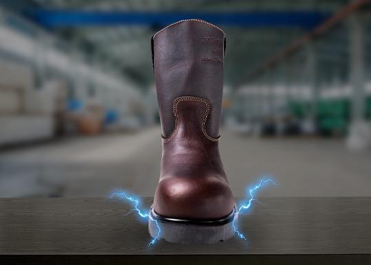 Imagen simulando una bota industrial dentro de un área electrificada