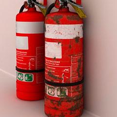 Extintores en espera de mantenimiento