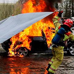 Ejemplo del método de extinción de fuego a través del sofocamiento.