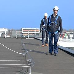Personal laborando con sistemas de protección contra caídas